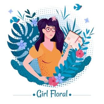 Ragazza carina bellezza con lunghi capelli romantici con libro tra le foglie e fiori di piante esotiche estate