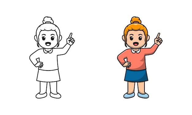 Disegni da colorare di cartoni animati ragazza carina per bambini