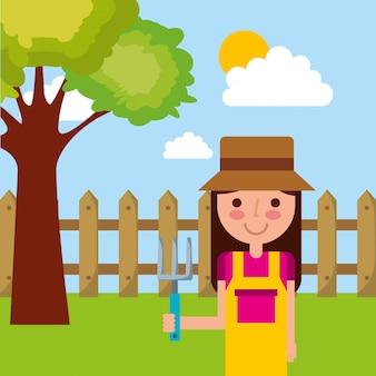 Cielo di recinzione di rastrello albero giardinaggio rastrello di cartone animato ragazza carina