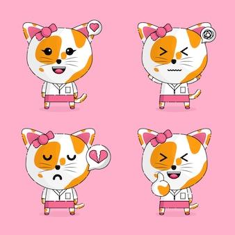 Personaggio mascotte kawaii segretaria gatto ragazza carina