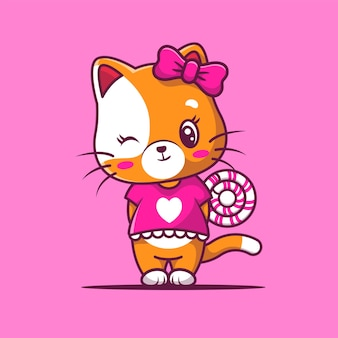 Gatto ragazza carina con caramelle dolci