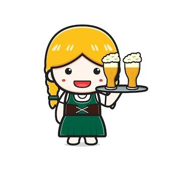 La ragazza sveglia celebra l'illustrazione dell'icona del fumetto più oktoberfest. design piatto isolato in stile cartone animato