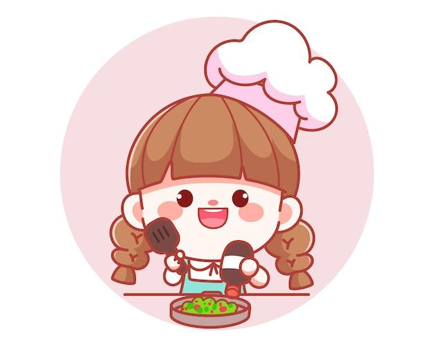Cuoco unico della ragazza sveglia che cucina nell'illustrazione di arte del fumetto del logo dell'insegna della cucina