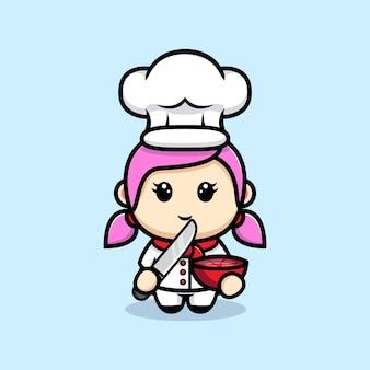 Lo chef ragazza carina ha tagliato il disegno della mascotte della frutta