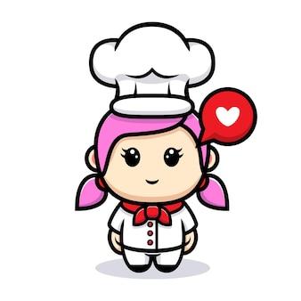 Disegno della mascotte del cuoco unico della ragazza sveglia