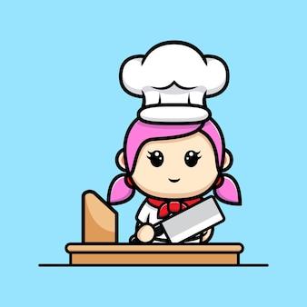 Cuoco unico sveglio della ragazza pronto a cucinare il disegno della mascotte