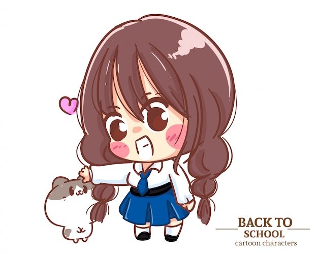 Divise studentesche per bambini ragazza carina e un gatto torna a scuola. illustrazione del fumetto vettore premium