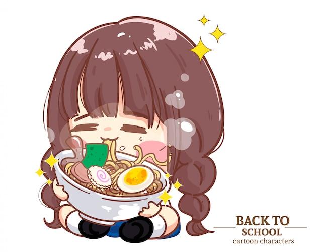 Le uniformi degli studenti dei bambini della ragazza carina mangiano le tagliatelle a scuola. illustrazione del fumetto vettore premium