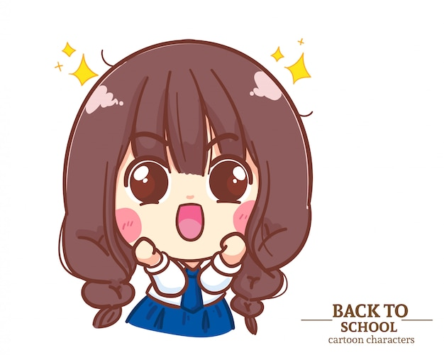 Uniformi studentesche di bambini ragazza carina eccitato e felice di nuovo a scuola. illustrazione del fumetto vettore premium