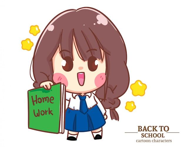 Divise studentesche per bambini ragazza carina che tengono il libro a scuola. illustrazione del fumetto vettore premium