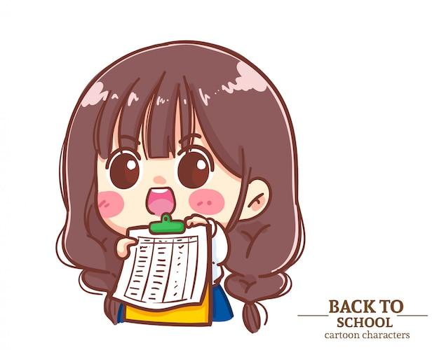 Divise studentesche di bambini ragazza carina che tengono le liste di controllo degli appunti a scuola. illustrazione del fumetto vettore premium