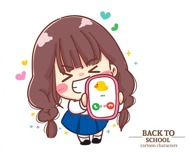 Divise studentesche bambini ragazza carina che tengono mobile torna a scuola. illustrazione del fumetto vettore premium