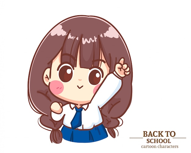 Le uniformi degli studenti dei bambini della ragazza carina alzano la mano e puntano il dito per tornare a scuola. illustrazione del fumetto vettore premium