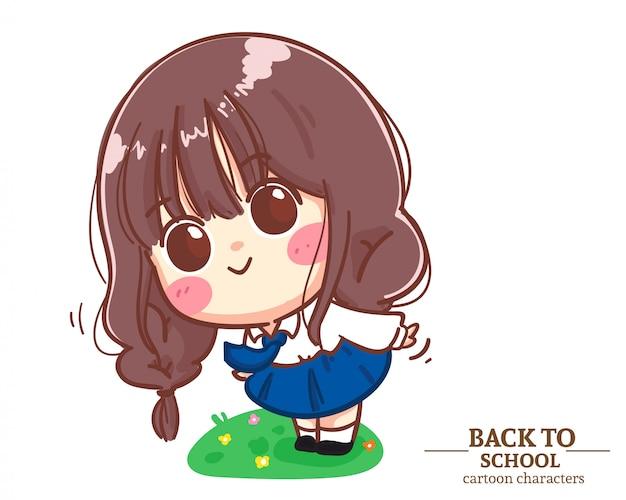 Divise studentesche bambini ragazza carina in piedi sull'erba torna a scuola. illustrazione del fumetto vettore premium