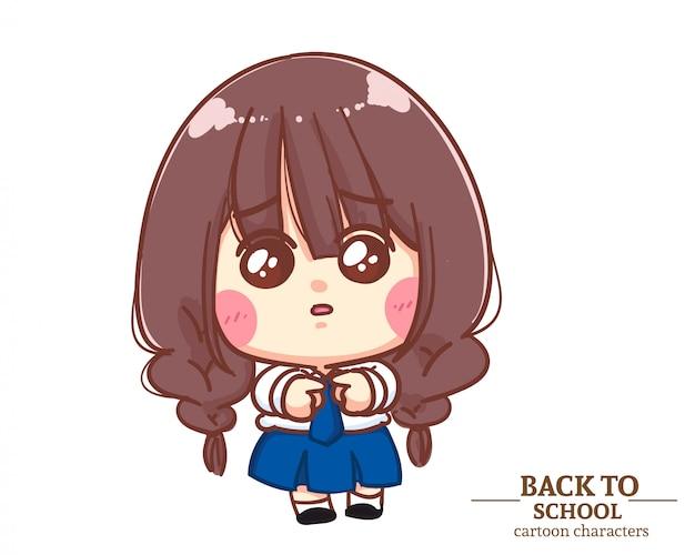 Divise studentesche per bambini ragazza carina pensando a scuola. illustrazione del fumetto vettore premium