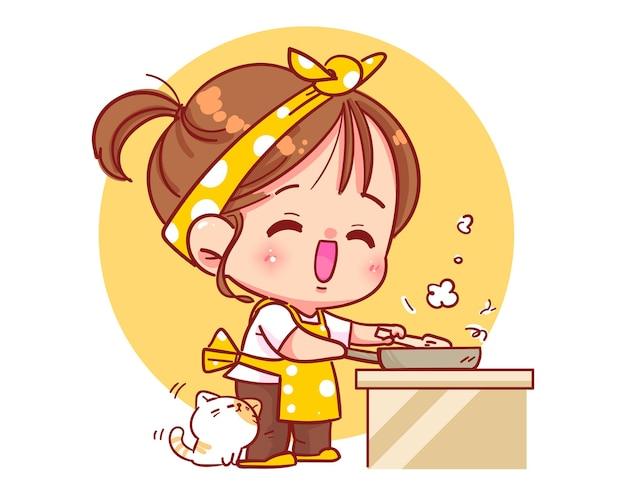 Ragazza carina che cucina in cucina con l'illustrazione di arte del fumetto del gatto