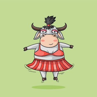 Mucca carina ragazza. illustrazione del disegno a mano