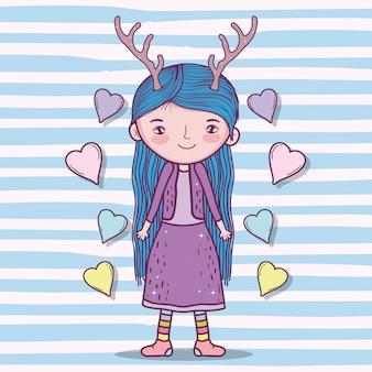 Creatura di ragazza carina con palchi e acconciatura