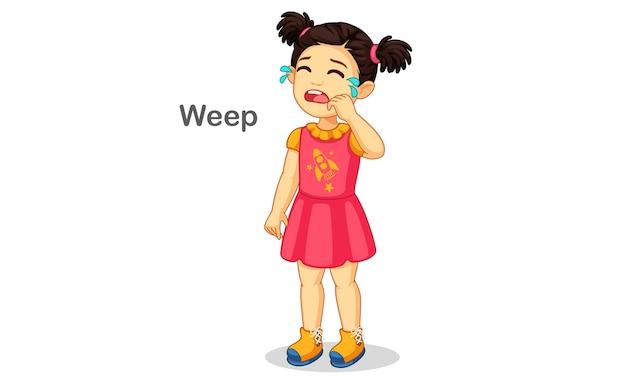 Illustrazione di pianto della ragazza sveglia