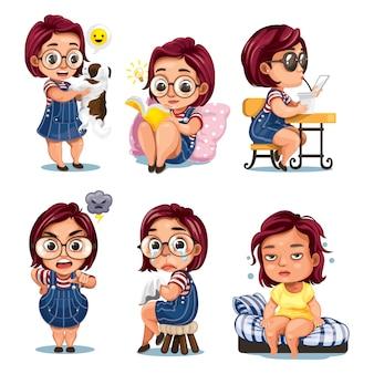 Set di attività quotidiane di ragazza carina