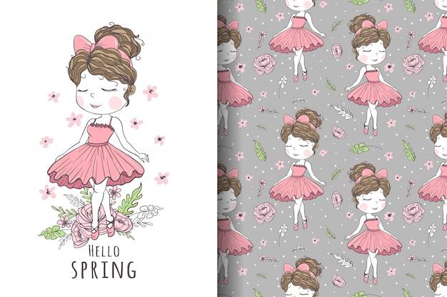 Illustrazione e modello disegnati a mano del ballerino della ragazza sveglia