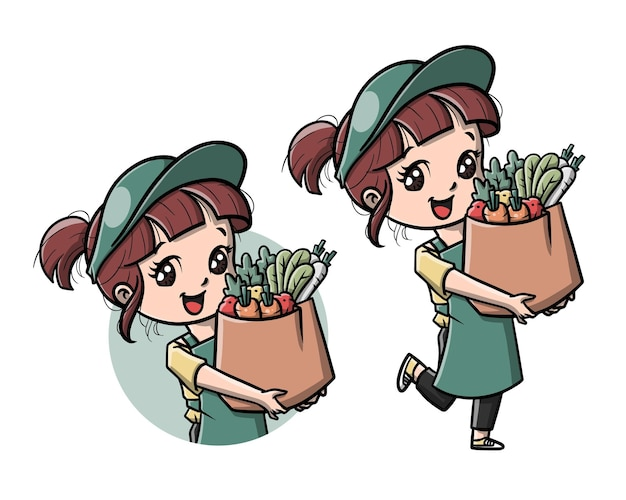 Ragazza carina consegna cartone animato di verdure