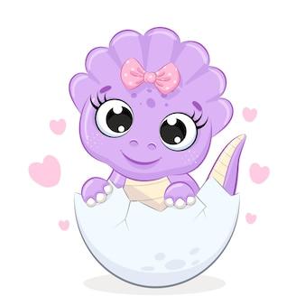 Dinosauro ragazza carina con fiocco isolato su bianco
