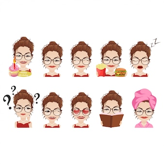 Cute girl emoji set / collection in diverse pose