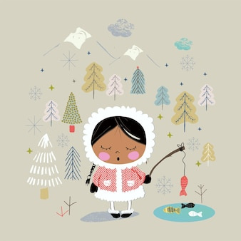 Ragazza carina che pesca in alaska disegnata a mano può essere utilizzata per il design di stampa alla moda con stampa di magliette per bambini