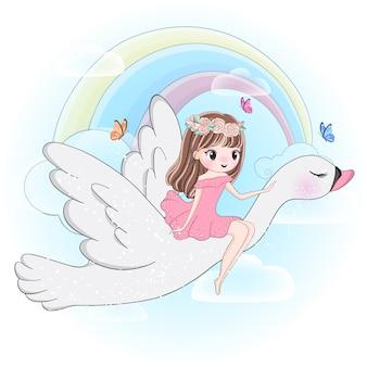 Ragazza carina volando con cigno