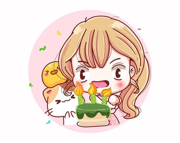 Ragazza carina buon compleanno e design del personaggio dei cartoni animati.
