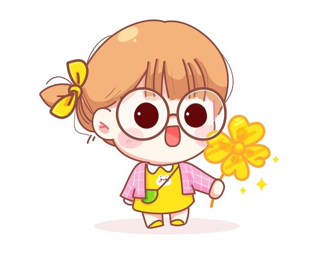 Illustrazione sveglia del fumetto del fiore della tenuta della ragazza