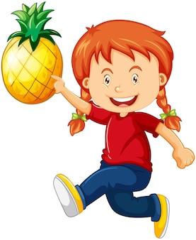 Una ragazza carina con personaggio dei cartoni animati di ananas isolato su priorità bassa bianca