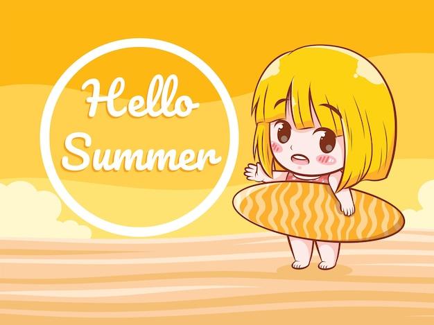 Una ragazza carina che tiene una tavola da surf dice ciao illustrazione di saluto estivo estivo