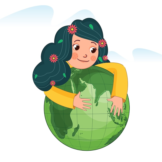 Ragazza carina che abbraccia il globo verde su sfondo bianco.