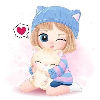Ragazza sveglia che abbraccia la piccola illustrazione del gattino