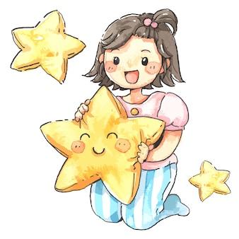 Ragazza carina che abbraccia cuscino stella