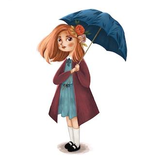 Ombrello sveglio della tenuta dell'illustrazione della ragazza Vettore Premium