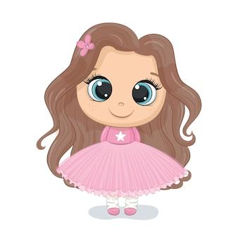 Illustrazione di ragazza carina illustrazione per baby shower, biglietto di auguri, invito a una festa, stampa di t-shirt vestiti di moda.