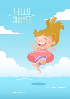 La ragazza carina salta per nuotare con la ciambella che nuota ciao estate Vettore Premium