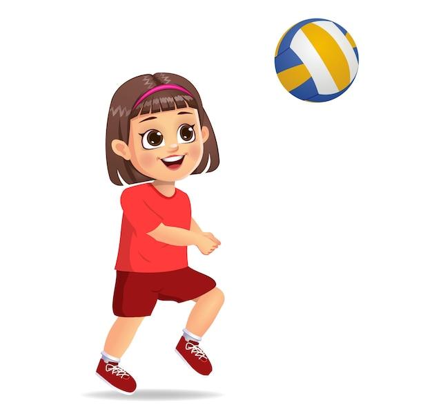 Ragazza carina che gioca a pallavolo