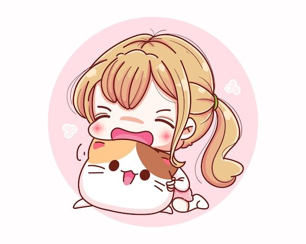 Ragazza carina amore gatto e design dei personaggi dei cartoni animati.