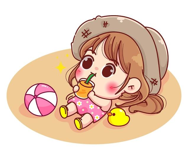 Ragazza sveglia che si trova sulla spiaggia che succhia l'illustrazione del fumetto del succo d'arancia