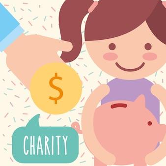La ragazza carina moneta salvadanaio donare carità