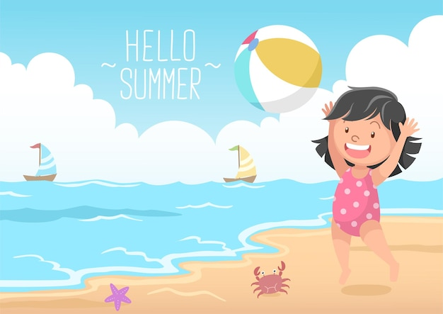 Ragazza carina che gioca a pallone da spiaggia ciao estate Vettore Premium