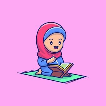 Ragazza sveglia che legge al qur'an icon illustration. personaggio dei cartoni animati di mascotte di ramadan.