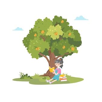 Ragazza carina lettura libro giardino parco alberi illustrazione sfondo