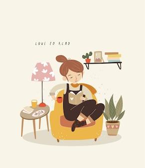 Ragazza carina che legge un libro con un caffè