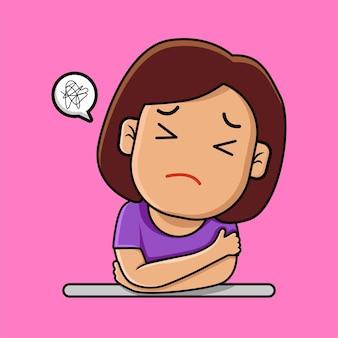 Cartone animato triste depresso ragazza carina