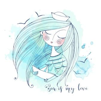 Una ragazza carina in berretto da marinaio con una barchetta di carta tra le mani sogna il mare. grafica e acquerelli.
